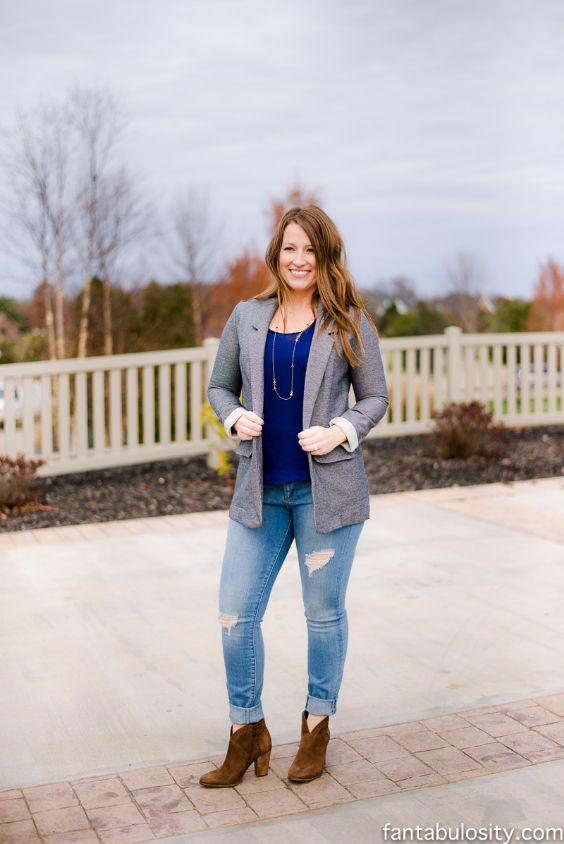 Date Night Outfits: gray blazer, royal blue top, ripped jeans, camel booties, necklace #outfit #blonde #woman #casual