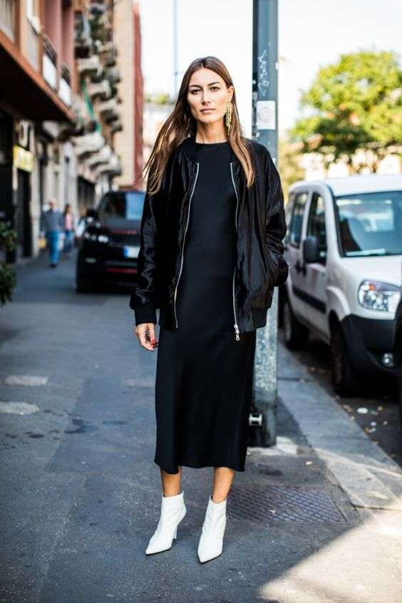 Date Night Outfit: black faux leather jacket, black maxi dress, white booties, earrings #outfit #black #trendy #city