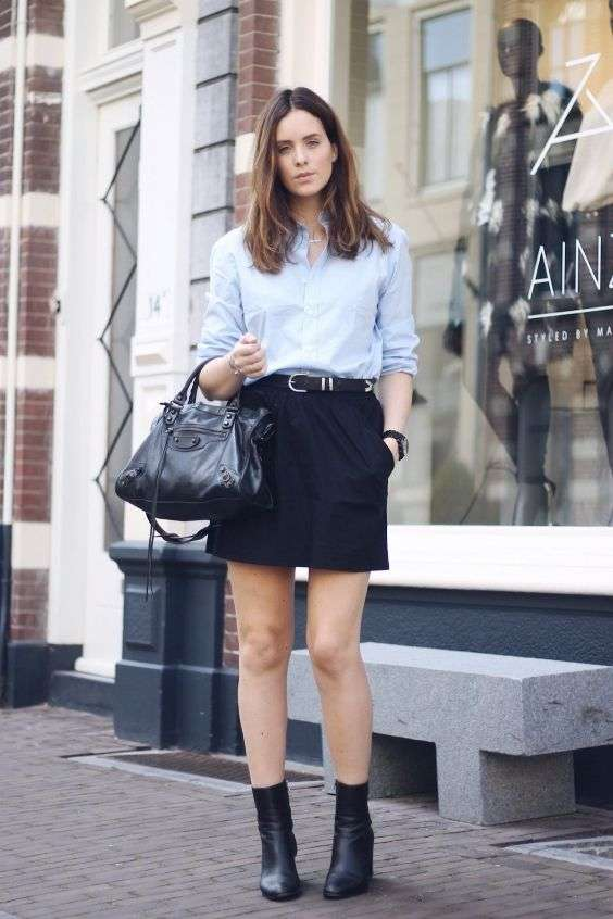 Business Casual Outfits: light blue shirt, black skirt, black booties, black handbag, black belt, watch, bracelet #outfit #woman #chic #work