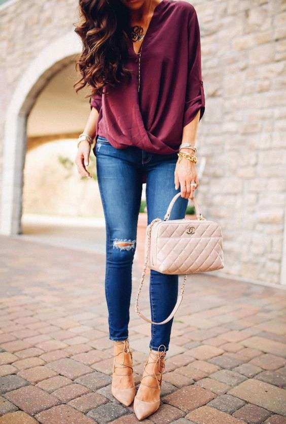 Date Night Outfit: wine cross front half sleeve blouse, ripped jeans, beige handbag, beige lace-up heels, bracelets, golden necklace #outfit #longhair #fashion #chic
