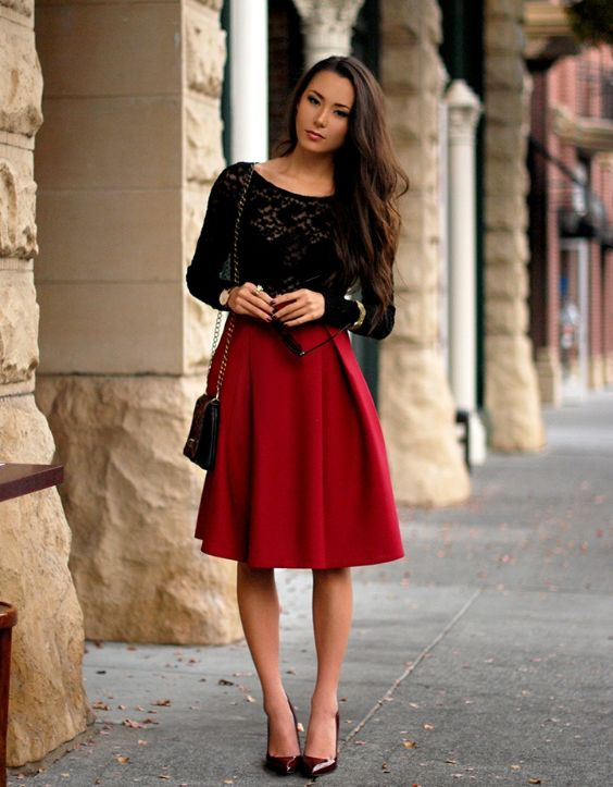 Date Night Outfits: black lace long sleeve top, red box pleated skirt, wine pump heels, black and golden crossbody bag, bracelet, sunglasses #outfit #longhair #makeup #fashion