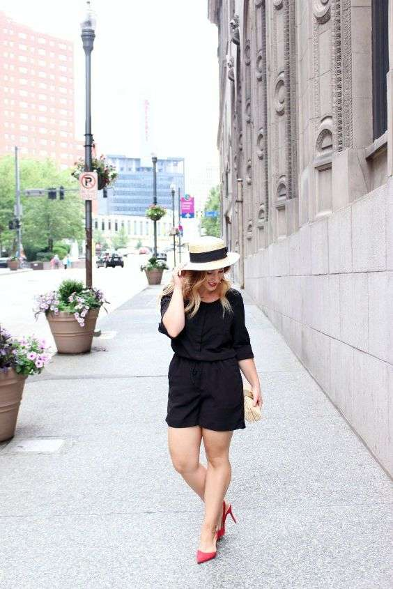 Date Night Outfit: black half sleeve romper, beige and black hat, red scarpin shoes, beige purse #outfitideas #city #blonde #chic