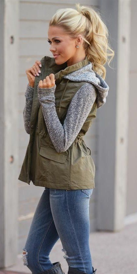 Fall Outfit: army green and gray jacket, ripped jeans, earrings #outfit #hairstyle #look #fashion