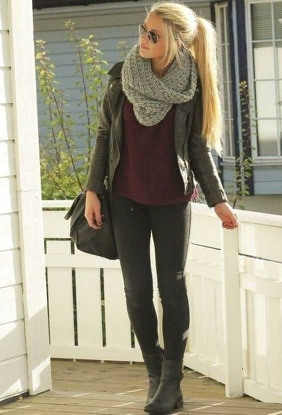 Fall Outfit: gray scarve, wine sweater, black faux-leather jacket, black skinny jeans, black booties, black crossbody bag, sunglasses #outfitoftheday #blonde #longhair #girl