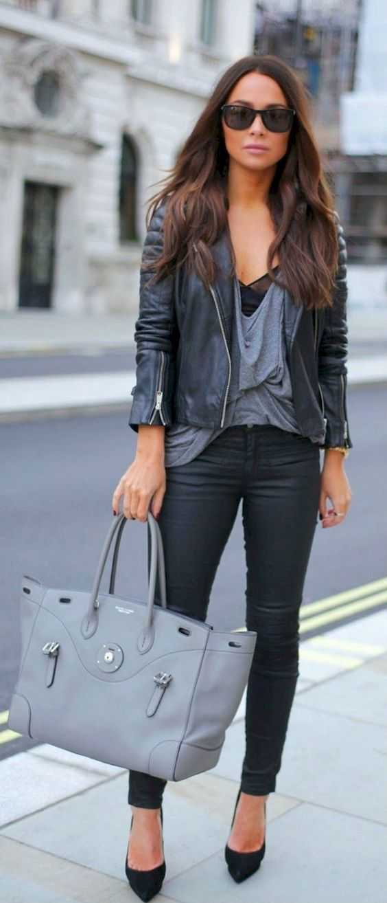 Fall Outfit: black faux-leather jacket, gray v-neck top, black faux-leather pants, sunglasses, gray handbag, black pump heels #outfit #black #fall #fashion