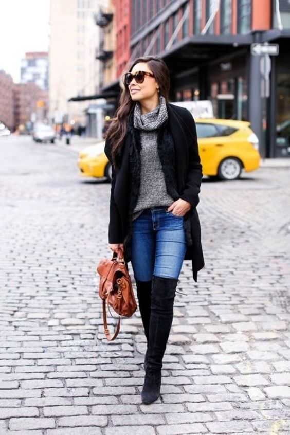 Fall Outfit: black longline coat, skinny jeans, black knee high boots, gray turtleneck sweater, camel bag, sunglasses #outfitideas #women #casual #brunette