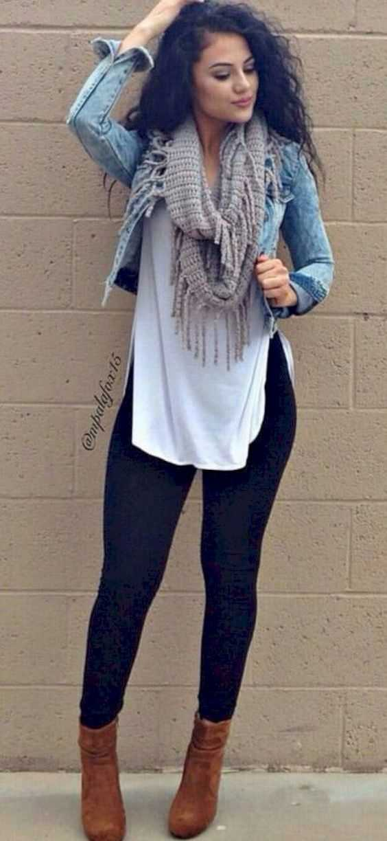 Fall Outfits: denim jacket, white blouse, gray scarve, black skinny jeans, camel booties #outfitoftheday #makeup #dailylook #brunette