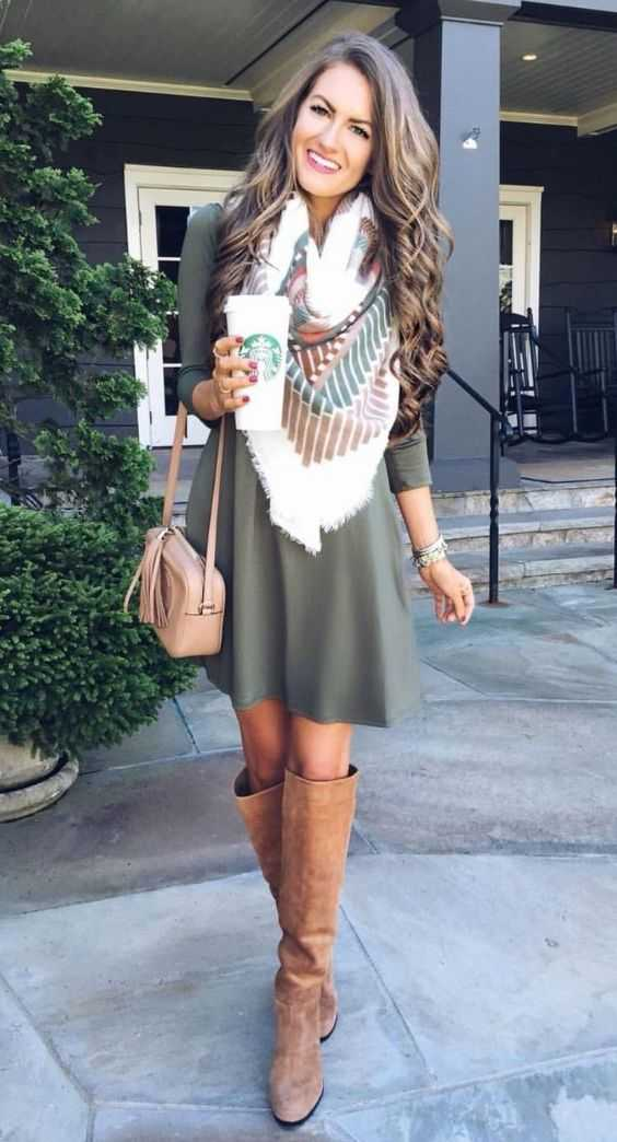 Fall Outfit: army green long sleeve dress, white scarve, brown knee high boots, beige crossbody purse #outfitideas #longhair #trendy #cute