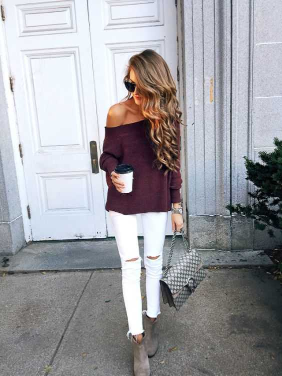 Fall Outfit: wine off the shoulder long sleeve top, white ripped jeans, gray booties, gray handbag, sunglasses #outfitoftheday #longhair #blonde #fashion