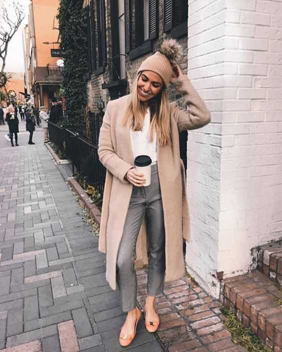 Fall Outfit: beige longline coat, gray high waisted capri pants, nude ballerina shoes, white blouse, light brown winter hat #outfitoftheday #cute #hair #women