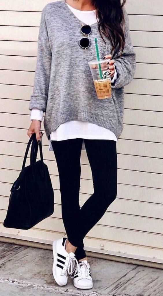 Fall Outfit: white long sleeve shirt, gray sweater, black skinny jeans, white sneakers, black handbag, sunglasses #outfit #school #girl #teen
