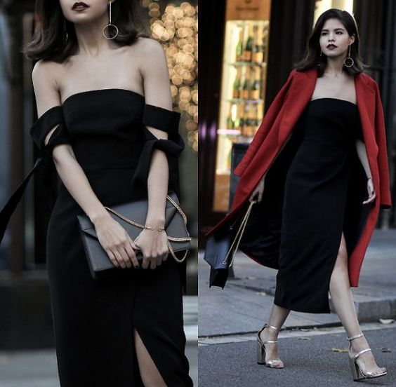Graduation Outfit: black off the shoulder pencil dress, black purse, red coat, golden t-strap heel sandals, hoop earrings #outfitideas #black #makeup #fashion