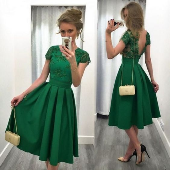 Graduation Outfit: green short sleeve lace v-back dress, beige and black pump heels, golden purse, bracelet #outfitideas #green #fashion #trendy
