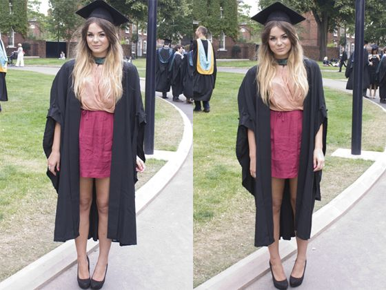 Graduation Outfit: pink and wine halter dress, black heels #outfitideas #blonde #graduation #cute