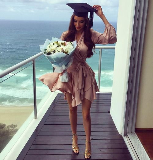 Graduation Outfits: pink cross front bishop sleeve layered dress, golden heel sandals, pearl earrings #outfit #pink #graduation #girly