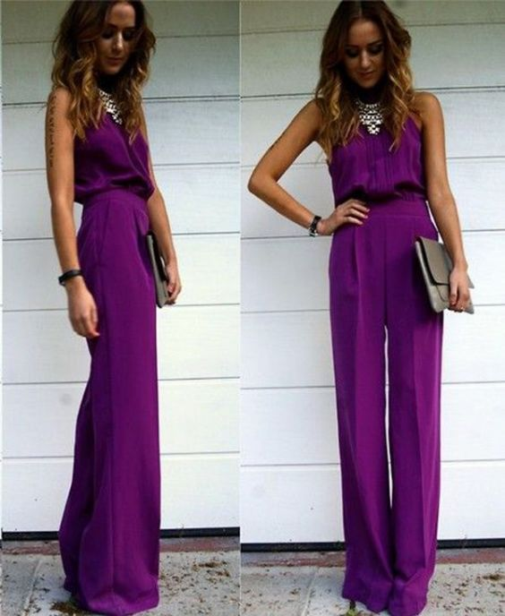 Graduation Outfits: purple halter jumpsuit, silver necklace, gray purse, bracelet #outfitideas #purple #girl #fashion