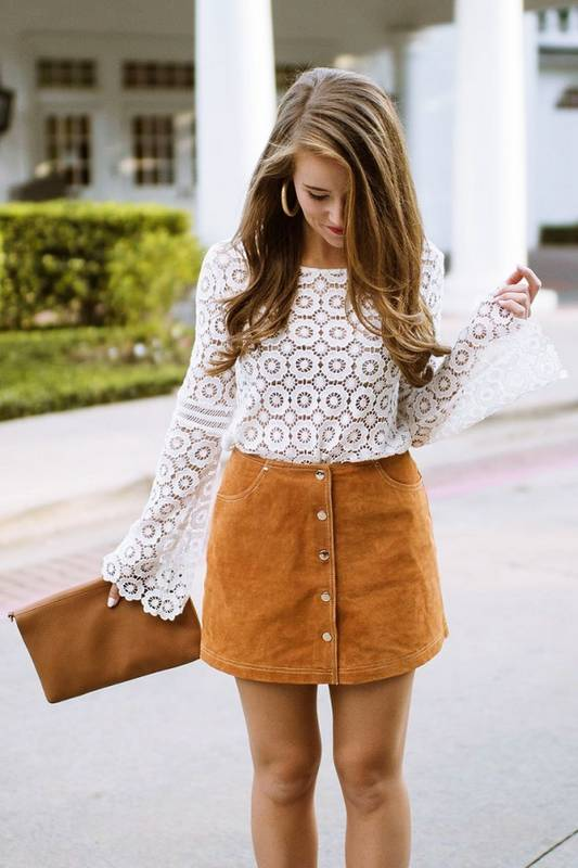 Graduation Outfit: white trumpet sleeve lace top, camel skirt, camel purse, hoop earrings #outfit #graduation #chic #trendy