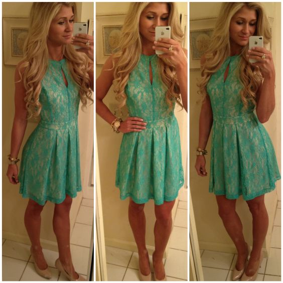 Graduation Outfit: turquoise halter lace dress, nude heels, watch, bracelets #outfitideas #blonde #fashion #girly