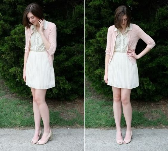 Graduation Outfit: baby pink cardigan, beige floral blouse, beige pleat skirt, nude peep toe shoes #outfit #cute #girly #trendy