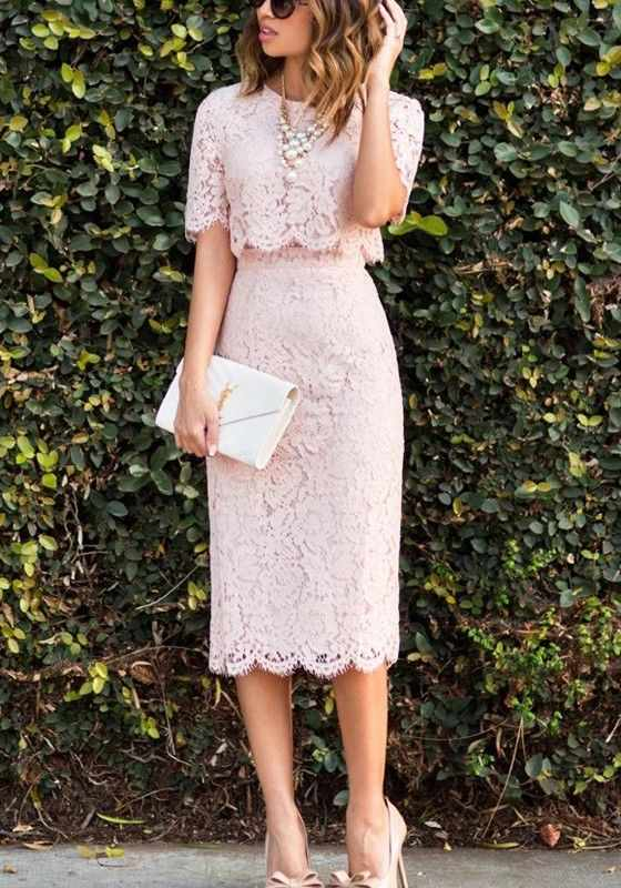 Graduation Outfit: baby pink lace short sleeve crop top and pencil skirt set, pearl necklace, nude heels, beige purse, sunglasses #outfit #pink #college #elegant