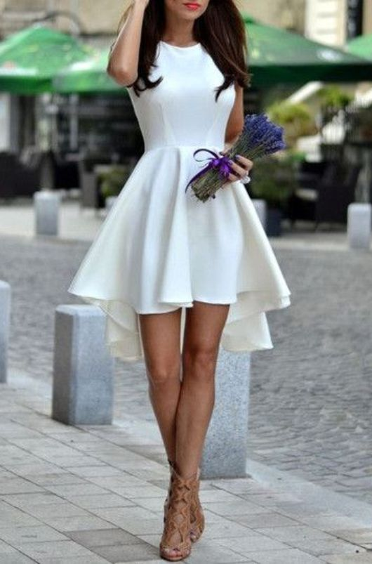 Graduation Outfits: white halter asymmetric dress, nude gladiator heels #outfitideas #graduation #chic #fashion