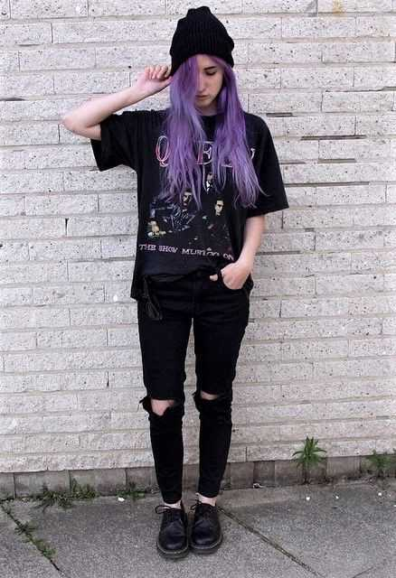 Grunge Outfits: black t-shirt, black ripped jeans, black martens shoes, black winter hat #outfitoftheday #purplehair #teen #grunge