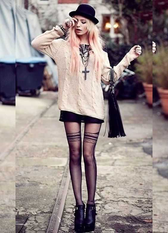 Grunge Outfits: baby pink sweatshirt, black mini skirt, black lace tights, necklaces, black hat, black boho bag, booties #outfitoftheday #pink #pinkhair #girl