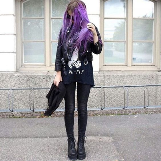 Grunge Outfits: black faux-leather jacket, black t-shirt, black skinny jeans, black army booties #outfitideas #grunge #purplehair #girl