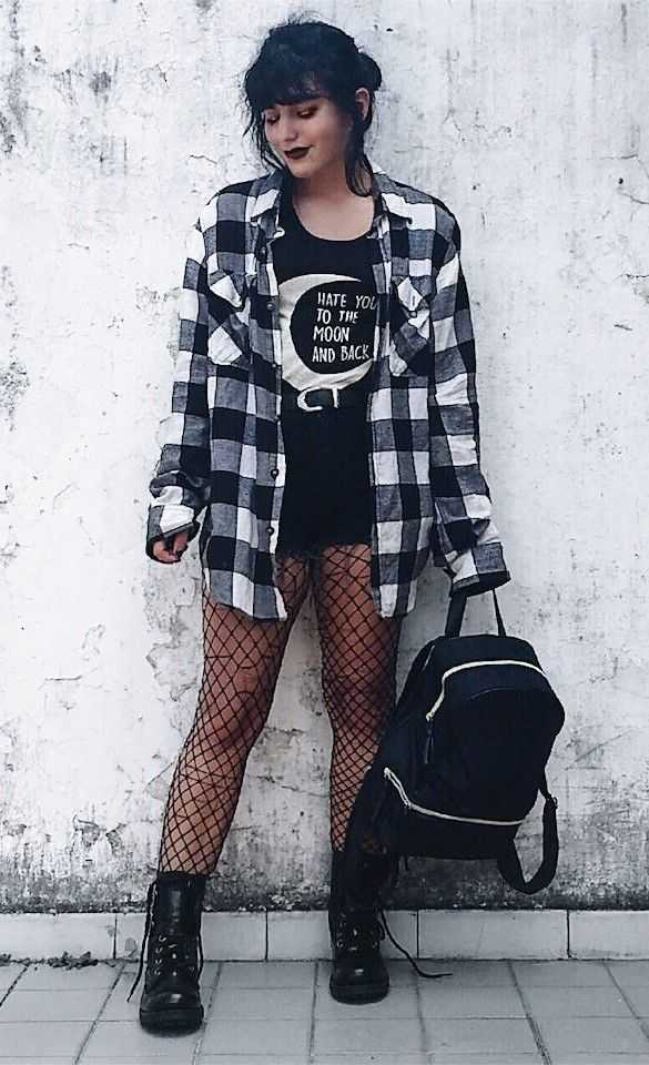 Grunge Outfits: black and white checked lumberjack, black top, black shorts, black fishnet tights, black army booties, black bag #outfit #grunge #teen #black