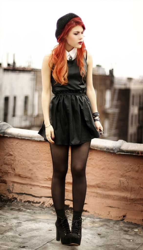 Grunge Outfits: black mini dress, black tights, black booties, black beret, bracelet #outfitideas #redhair #makeup #longhair