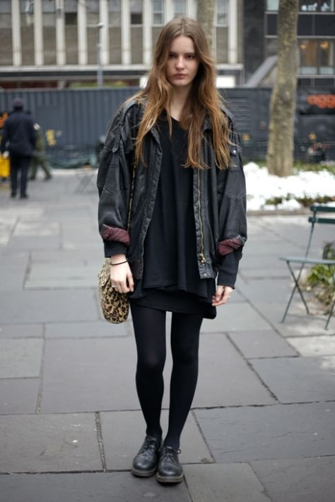 Grunge Outfits: black faux-leather jacket, black dress, black tights, black oxford shoes, leopard print crossbody bag #outfit #longhair #teen #trendy
