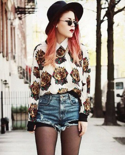 Grunge Outfits: white print blouse, ripped denim shorts, black tights, black wide brim hat, sunglasses, necklace #outfit #accessories #redhair #makeup