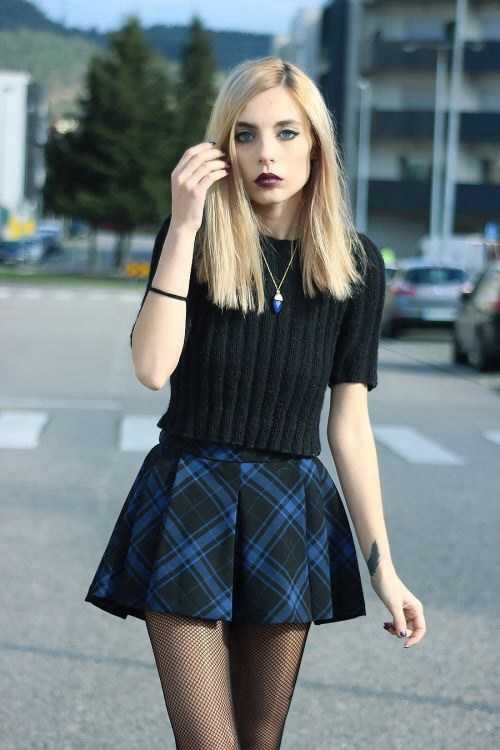 Grunge Outfits: black short sleeve top, checked mini skirt, black tights, necklace #outfitoftheday #trendy #blonde #girl