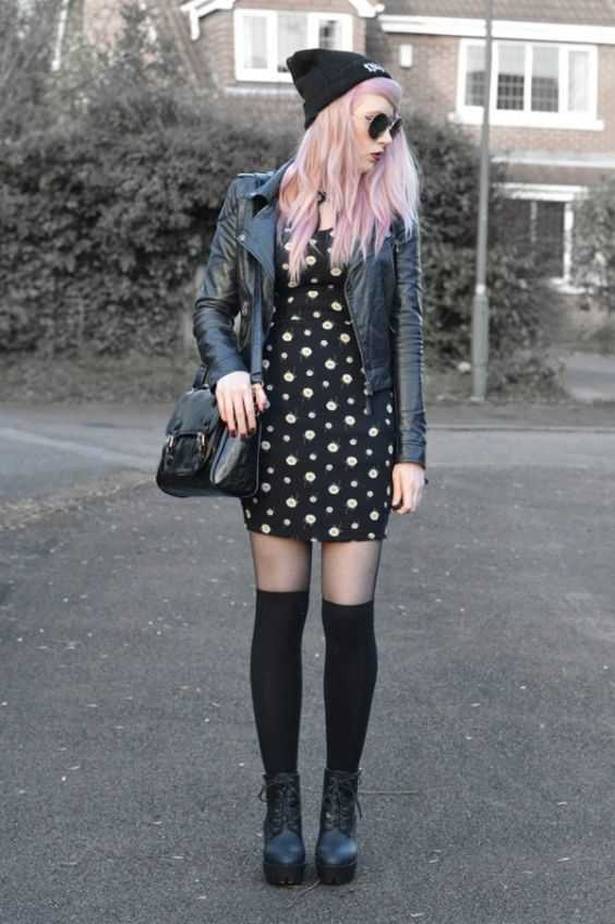 Grunge Outfits: black floral dress, black faux-leather jacket, black crossbody bag, black tights, black knee high socks, black booties, black winter hat, sunglasses #outfit #pinkhair #grunge #black