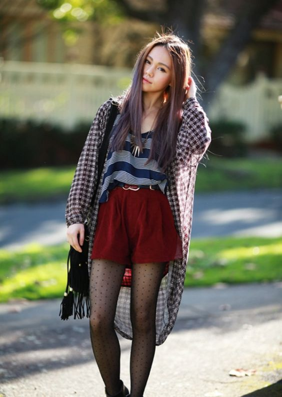 Grunge Outfits: checked chiffon coat, gray and blue striped top, wine shorts, black tights, black crossbody bag, necklace #outfitideas #longhair #girl #trendy