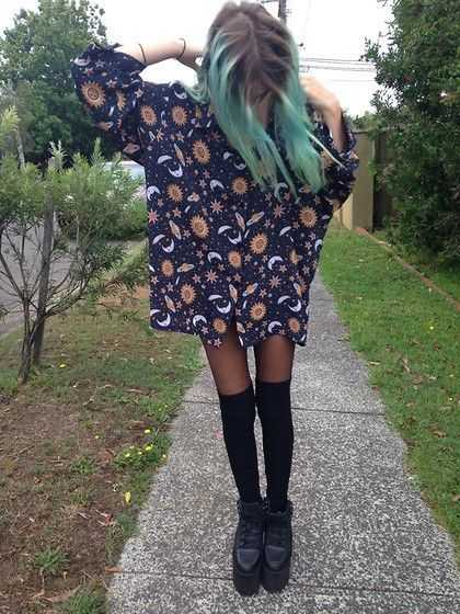 Grunge Outfit: sky long sleeve mini dress, black knee high socks, black martens shoes #outfit #bluehair #grunge #teen