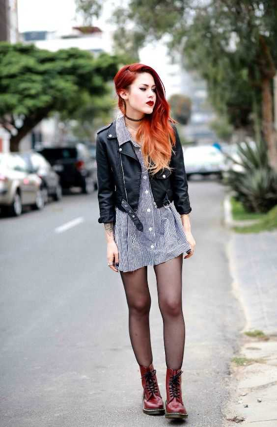 Grunge Outfits: black and white checked mini dress, black faux-leather jacket, black tights, red booties, choker #outfit #redhair #girl #dailylook