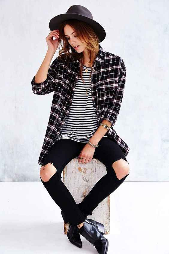 Hipster Outfit: black and white lumberjack shirt, black and white striped t-shirt, black ripped jeans, black booties, black hat, necklace #outfit #blackandwhite #hipster #fashion