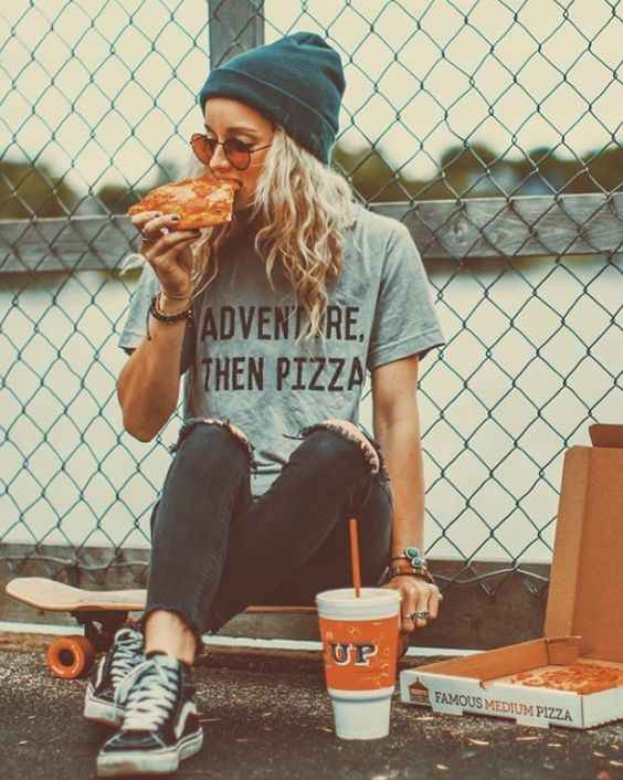 Hipster Outfits: gray t-shirt, black ripped jeans, black and white sneakers, green winter hat, sunglasses #outfitoftheday #skate #girl #pizza