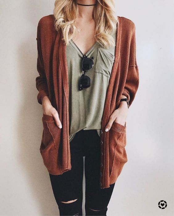 Hipster Outfit: brown cardigan, army green front pocket shirt, black ripped jeans, choker, sunglasses #outfitideas #blonde #fashion #hipster