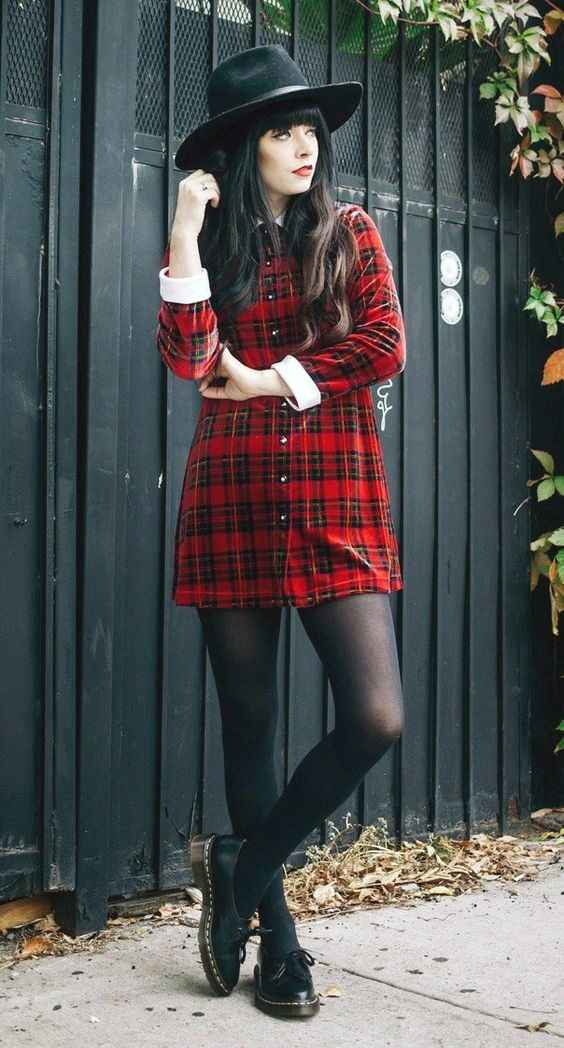 Hipster Outfits: red lumberjack dress, black cowgirl hat, black tights, black martens shoes #outfitideas #hipster #brunette #chic