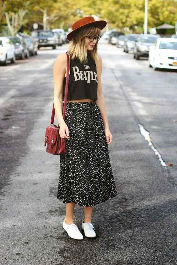 Hipster Outfits: black halter crop top, black and white maxi skirt, white mocassins, brown crossbody bag, brown hat #outfitoftheday #glasses #skirt #girl