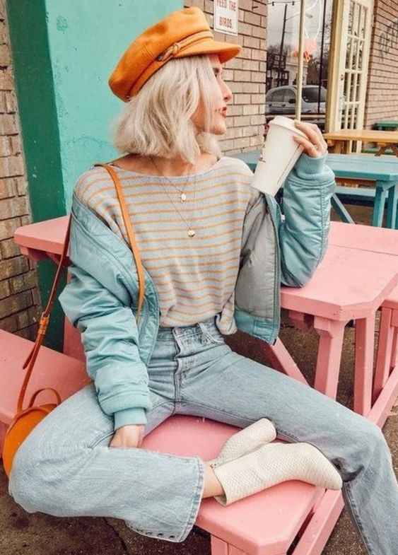 Hipster Outfits: orange newsboy cap, gray and orange striped t-shirt, denim jacket, mom jeans, white booties, orange crossbody bag, necklace #outfitoftheday #orange #look #hipster