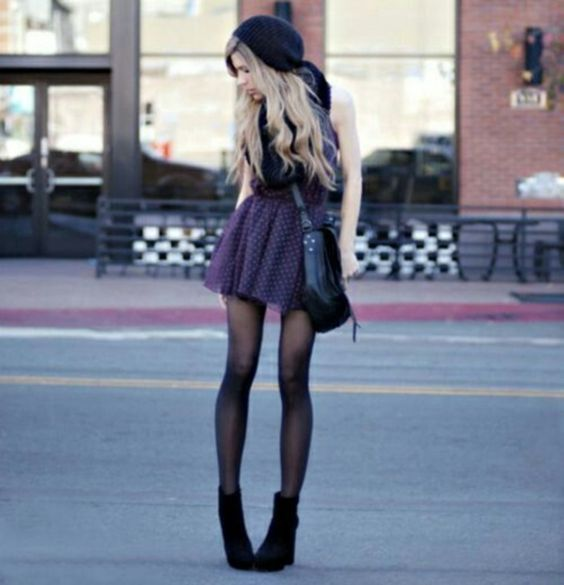 Hipster Outfits: dark purple lace dress, black tights, black booties, black crossbody bag, black winter hat #outfit #longhair #hipster #chic