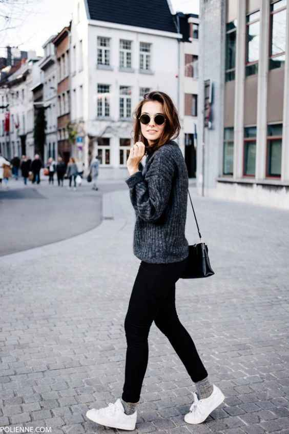 Hipster Outfit: gray sweater, black skinny pants, gray socks, white sneakers, black crossbody bag, sunglasses #outfit #black #urban #hipster