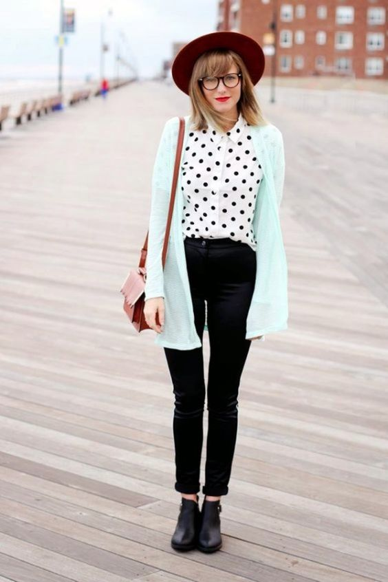 Hipster Outfits: light blue cardigan, black and white point print shirt, black skinny pants, black booties, camel crossbody bag, red wide brim hat #outfitoftheday #red #glasses #hipster