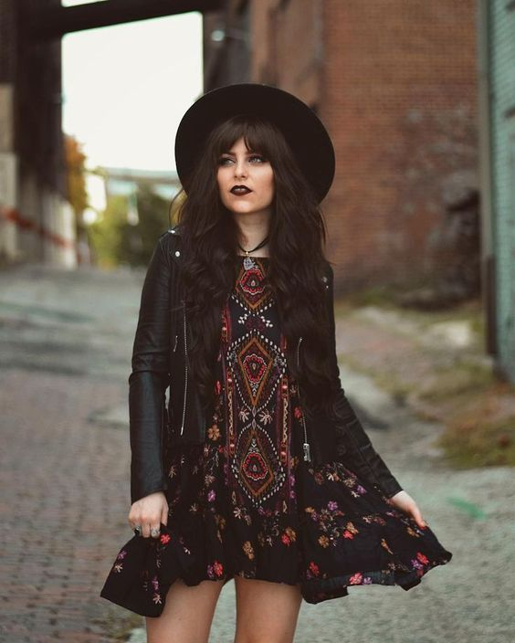 Hipster Outfit: black sun hat, black tribal mini dress, black faux leather jacket, necklace #outfitoftheday #black #makeup #hipster
