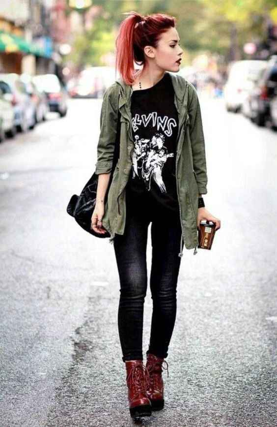 Hipster Outfit: army green jacket, black t-shirt, black skinny jeans, brown army boots, black bag #outfit #redhair #black #hipster