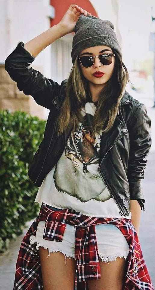 Hipster Outfit: gray winter hat, black faux leather jacket, white top, denim ripped shorts, red lumberjack shirt, sunglasses #outfitideas #makeup #brunette #fashion