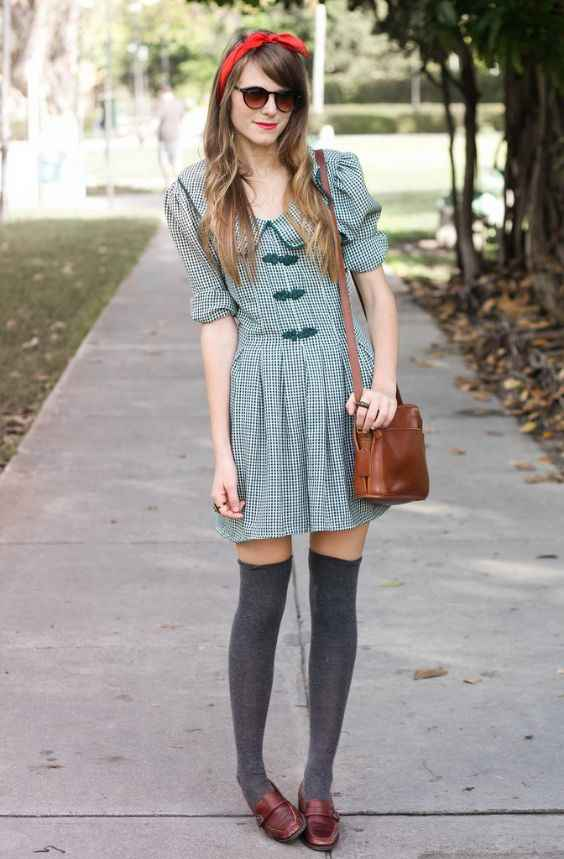 Hipster Outfit: green and white checked half sleeve dress, gray knee high socks, brown mocassins, brown crossbody bag, red headband, sunglasses #outfitoftheday #girl #hipster #trendy